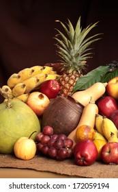 Still life photography art on mixed fruits