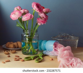 Still life with pink ranunculus flower bouquet