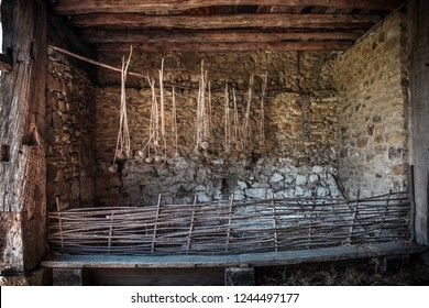 """Still life of Products of rural agriculture, in a """"Caserío"""", typical wooden house of the Basque country"""