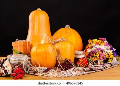Still life with a pumpkin. Autumn still life on a Halloween theme