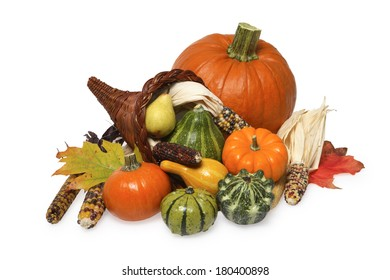 still life of pumpkin, corn, squash, and cornucopia on white
