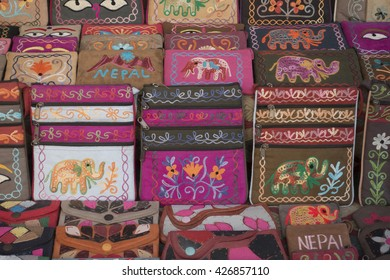 Still life of purses and bags at a market in Kathmandu, Nepal