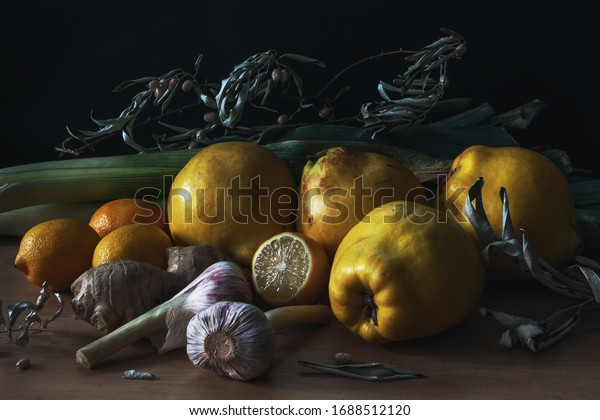 still life with quince, lemons and leek in the style of Dutch artists