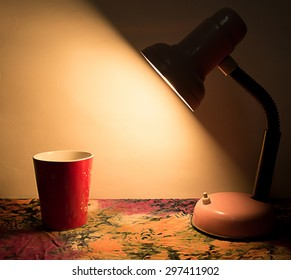 still life with red cup