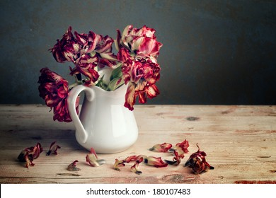 Still Life with Red Tulip Flowers in Porcelain Can