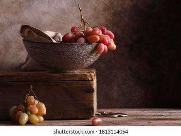 still life ripe organic grapes