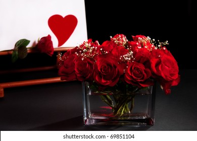 Still life with roses bouquet  and heart symbol