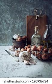 Still Life with Shallots and Garlic