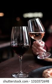 Still life shot of wine tasting theme