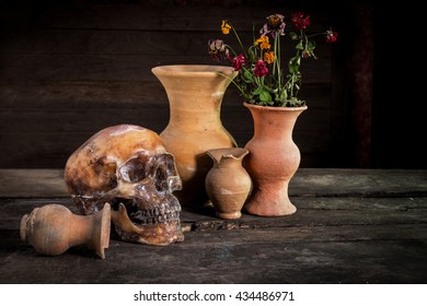 Still Life with a Skull and vase,earthenware
