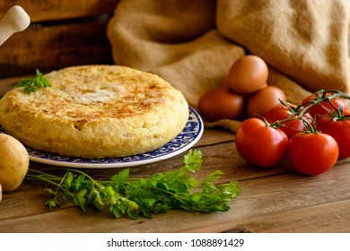 still life with spike typical Spanish potato omelette