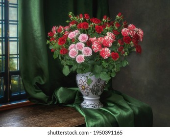 Still life with splendid bouquet of multicolored  roses