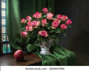 Still life with  splendid bouquet of pink roses