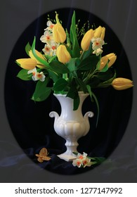 Still Life with Spring Bouquet of Yellow Tulips, Narcissi and Fresh Branches in a Classic White Vase on Dark Background in an Oval Shape Frame. Festive Home and Office Interior Design Decor. Square