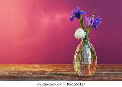 still life with spring floweras in vase