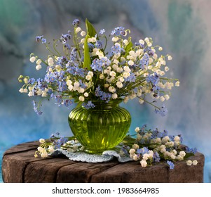 still life with spring lilies of the valley - Shutterstock ID 1983664985