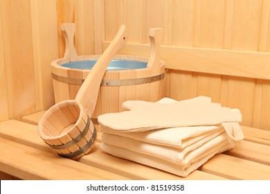 Still life of a steam bath room accessories
