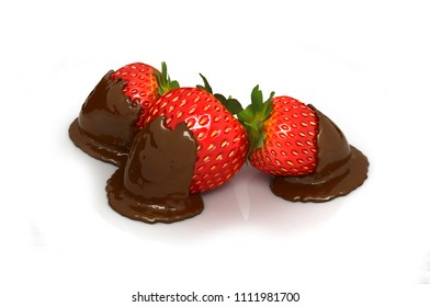 Still life with strawberries in chocolate isolated on white. 3D illustration.
