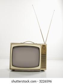 Still life studio shot of retro television.