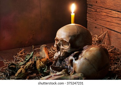 Still life style with skull and pile of bone, and candle, dark concept