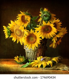 Still Life With Sunflowers And Butterfly