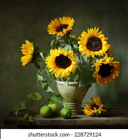 Still life with sunflowers and lemons