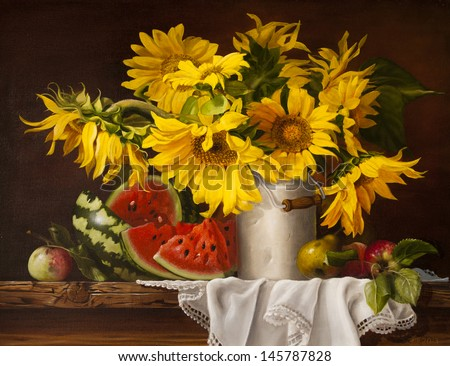 Still Life With Sunflowers And Watermelon