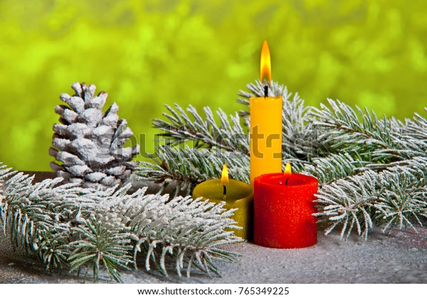 Still Life with Three Candles and Christmas Twig