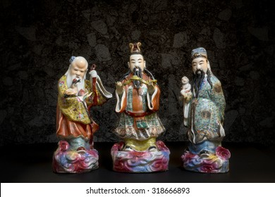 Still life of Three Chinese lucky gods, Fu Lu Shou statues, or Hock Lok Xiu