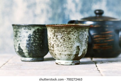 Still Life with Traditional Japanese hand crafted Ceramic. Asian culture