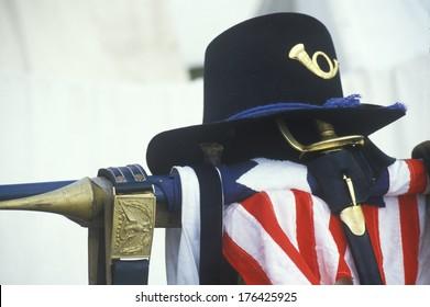 Still life of uniform and American Flag from site of Battle of Manassas, marking beginning of Civil War