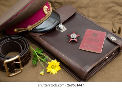 Still life with vintage objects dedicated to Victory Day. Order of the Red Star. May 9.