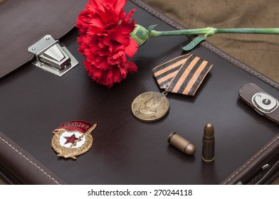 Still life with vintage objects dedicated to Victory Day. 9 May.