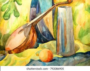 Still life  with watercolor Manda lina