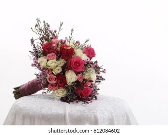 still life with wedding bouquet