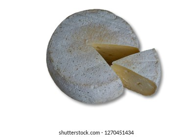 still life with white background and Italian cheese form