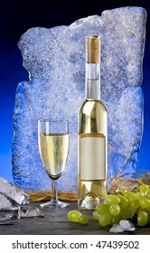 still life with white wine and ice