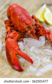 Still Life of Whole Fresh Red Lobster on Piece of Torn Brown Paper Wrapping on Rustic Wooden Table Surface