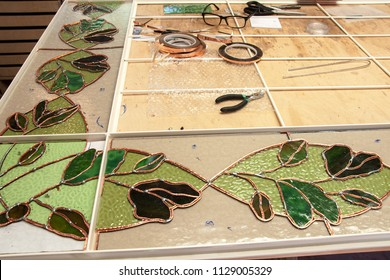 Still life at the window glazing manufacturer working on window stained glass