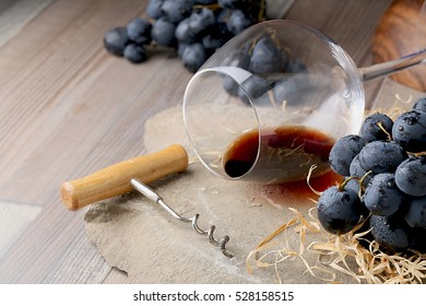 Still life with wine and grape