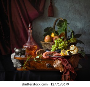 Still life with wine, lemon and grapes in the style of Dutch masters