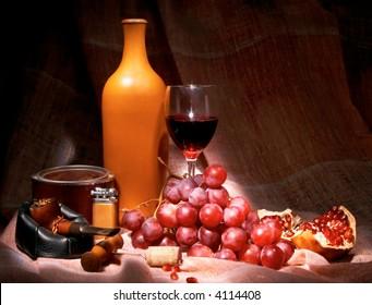still life with wine, tobacco, grape, garnet