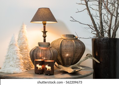 Still life with winter home decoration.  Christmas theme.