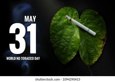 Still light of a smoking cigarette on leave lung shaped on black background. Selective focus and toned image. Shooting in studio, World No Tobacco day and Healthcare idea concept