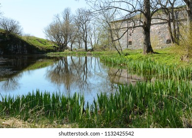 Still pond edged by green rushes and surrounded by trees with a stone building beyond on Suomenlinna island