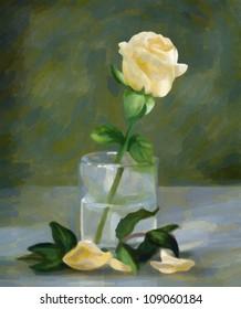 Still a rose in a glass