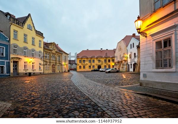 Still street in Zatec town. Czech Republic.