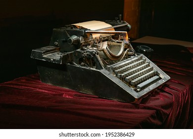 stil-life with old typewriter and camera