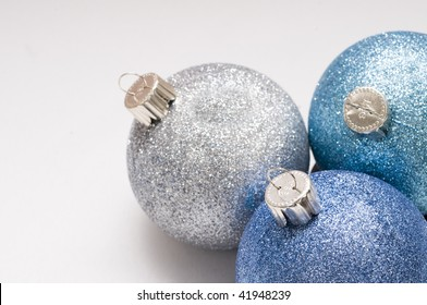 Still-life of Christmas ball ornaments isolated on white