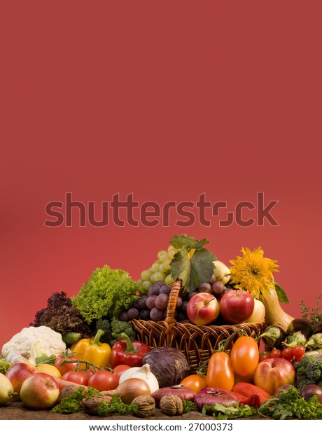 Still-life with fruits and vegetables food